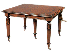 Mesa de Comedor Madera Victoriana cuadrada 5 patas extens