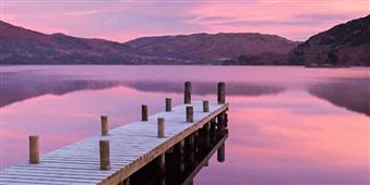 Cuadro canvas wooden jetty lake distict