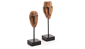 Set 2 Caras Kraft madera - Figuras decorativas - Objetos de Decoración