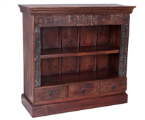 Librería madera colonial tres cajones