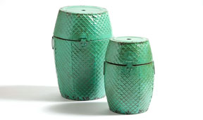 Set 2 taburetes bajos verdes vintage Antique
