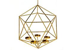 Lámpara techo candelabro metal dorado II