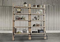 Librería vintage Loft doble madera