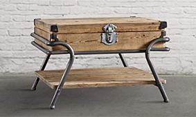 Mesa auxiliar vintage maleta de madera