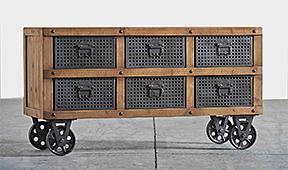 Aparador vintage 6 cajones con ruedas - Aparadores Vintage - Muebles Vintage