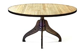 Mesa de comedor industrial redonda Iron