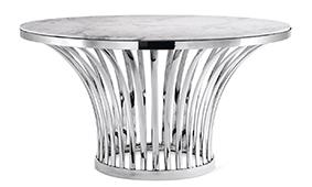 Mesa de comedor circular mármol y acero