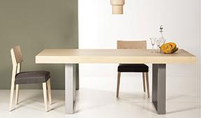 Mesa de comedor industrial extensible con cubertero