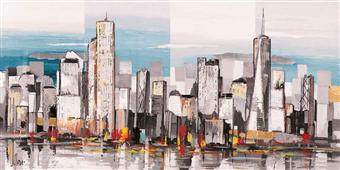 Cuadro canvas paisaje metropolis II