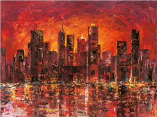 Cuadro canvas paisaje sunset in new york