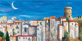 Cuadro canvas paisaje villaggio silenzioso