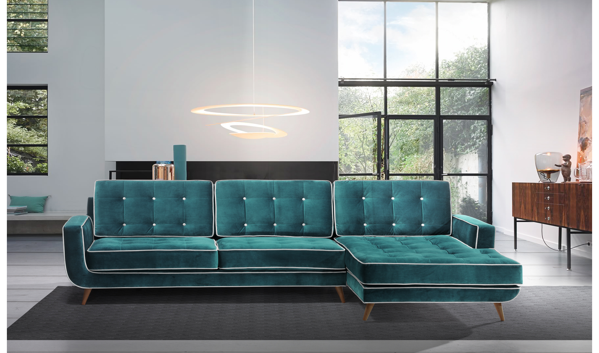 Sof con chaise longue retro sterling cooper en for Los sofas mas baratos