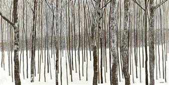 Cuadro canvas paisaje woods in  winter