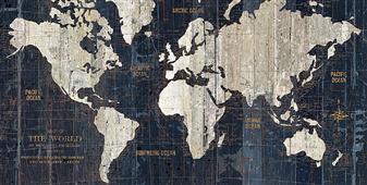 Cuadro canvas mapa old world map blue