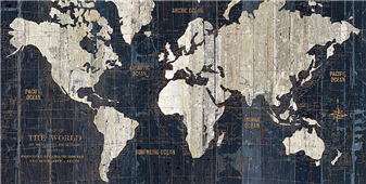 Cuadro canvas old world map blue