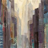 Cuadro canvas abstracto ciudad en el amanecer