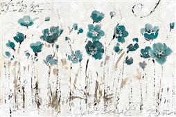 Cuadro canvas flores abstrac balance blue