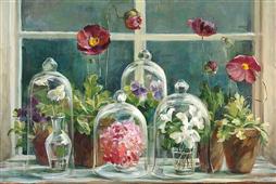 Cuadro canvas flores purple poppies windows