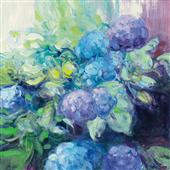 Cuadro canvas flores brillante hydrangea III