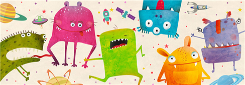 Cuadro canvas infantil aliens friends