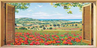Cuadro canvas paisaj finestra su campo di papaveri