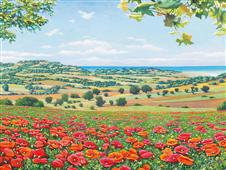 Cuadro canvas paisaje campo di papaveri