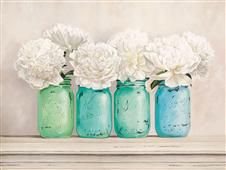 Cuadro canvas flores Peonies in mason jars
