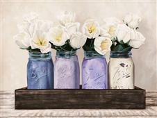 Cuadro canvas flores tulips in mason jars