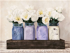 Cuadro canvas flores tulips in mason jars