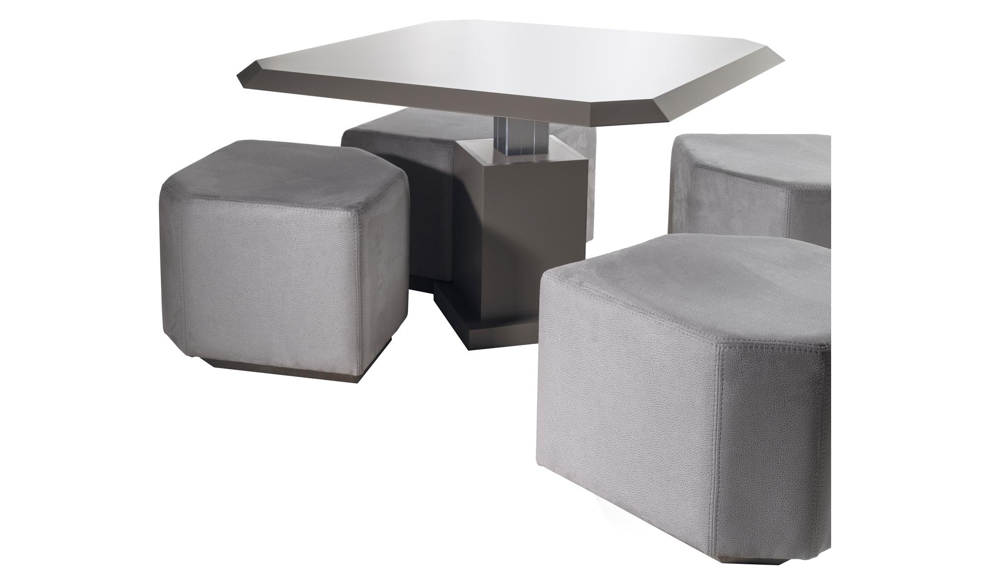 Mesa de centro convertible 4 puff moderno high tech en for Puff diseno moderno