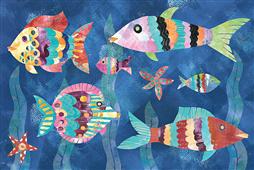 Cuadro canvas moderno boho reef fish III