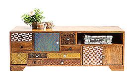 Mueble TV vintage Soleil 3 puertas 9 cajones