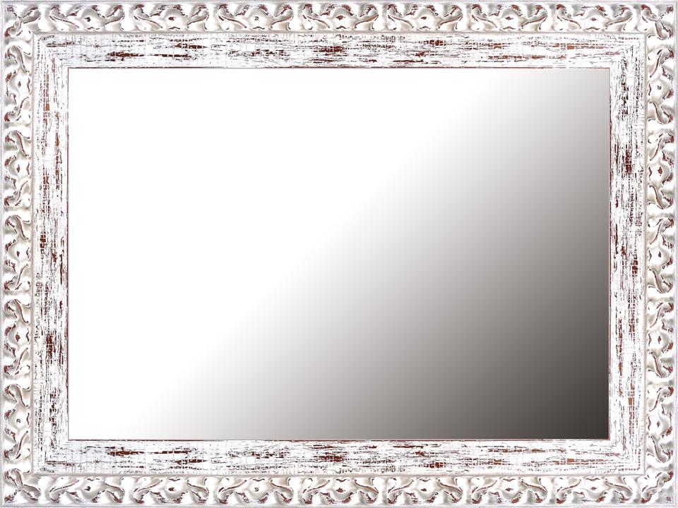 Espejo rectangular blanco decapado en for Espejo marco madera blanco