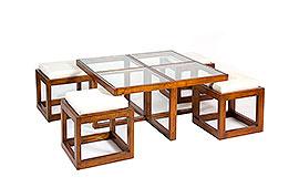 Mesa de centro colonial 4 taburetes Rohe