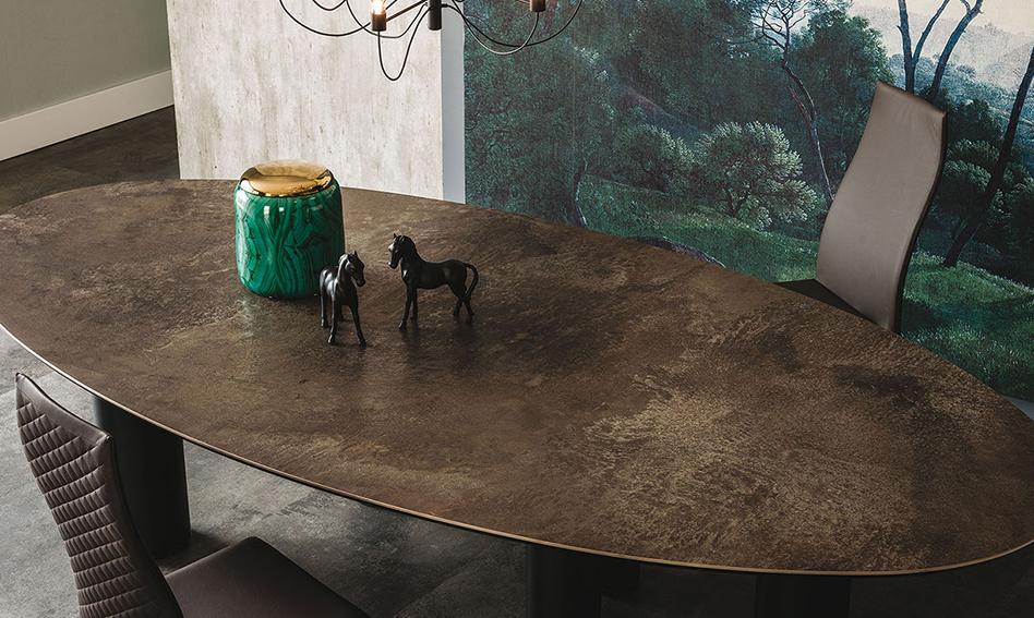 Mesa de comedor ovalada keramik Roll Cattelan de lujo en
