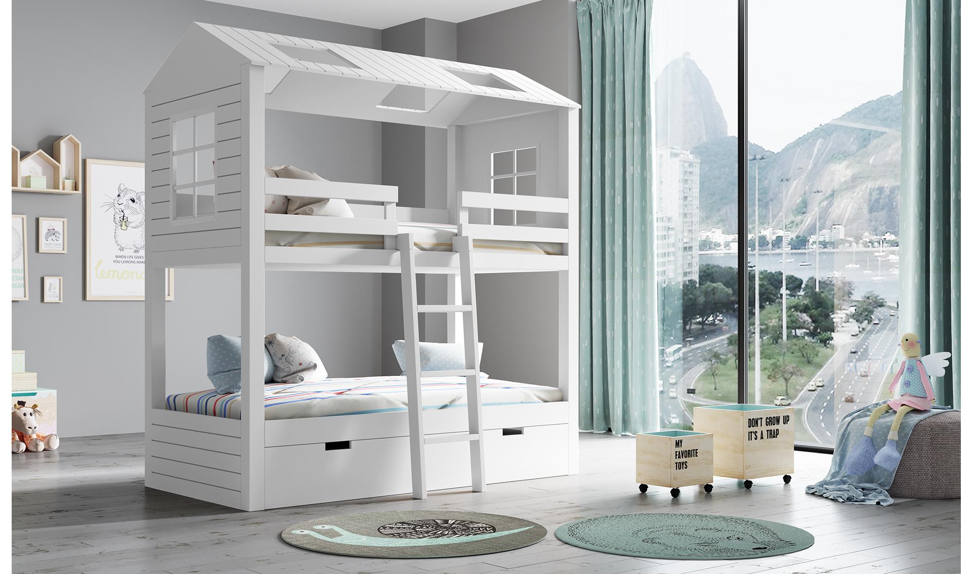 Litera infantil 3 camas 2 aguas casita en cosas de for Muebles literas infantiles