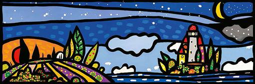 Cuadro canvas paisaje isola e luna