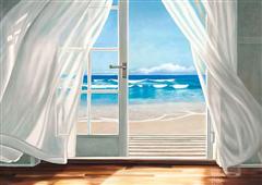 Cuadro canvas paisaje window by the sea