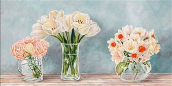 Cuadro canvas flores fleurs et vases aquamarine