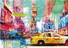 Cuadro canvas moderno taxis in times square 2.0