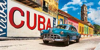 Cuadro canvas vintage car and mural cuba