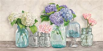 Cuadro canvas flores flowers in mason jars