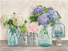 Cuadro canvas flores flowers in mason jars