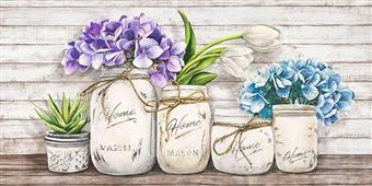 Cuadro canvas flores hydrangeas in mason jars - Cuadros serigrafiados - Objetos de Decoración
