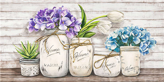 Cuadro canvas flores hydrangeas in mason jars