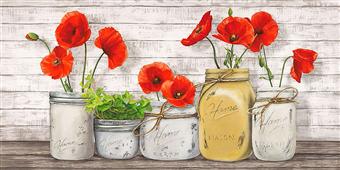 Cuadro canvas flores poppies in mason jars