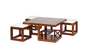 Mesa de centro colonial 3 taburetes Rinca