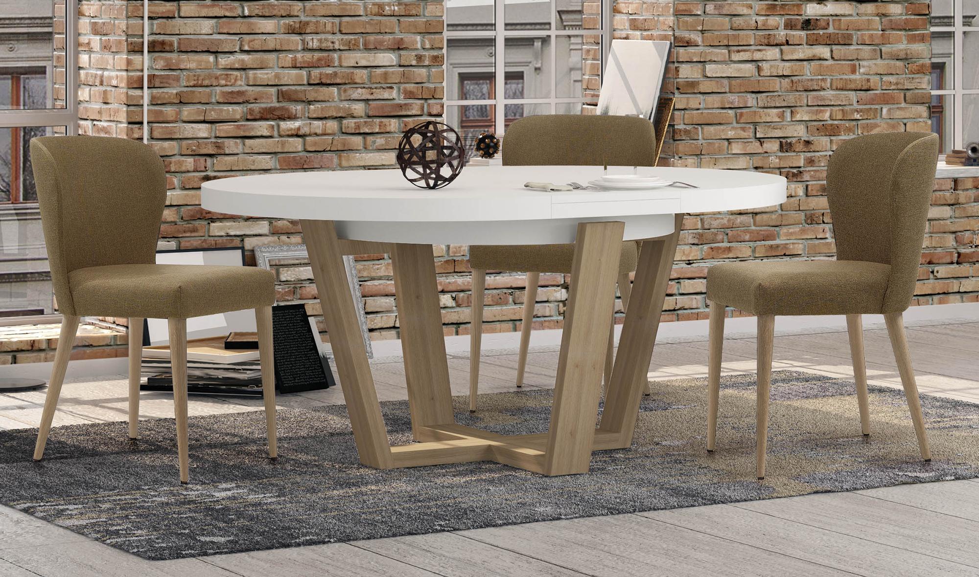 Mesa de comedor redonda extensible nórdica Belagio en ...