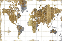 Cuadro canvas gilded map