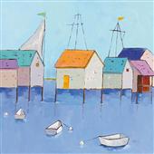 Cuadro canvas boat house row